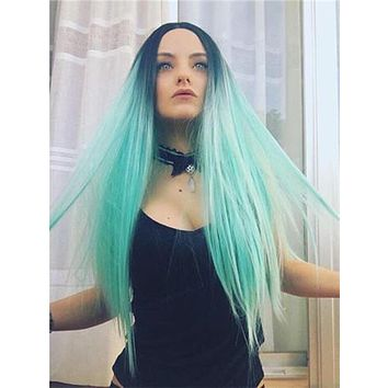 Long Black To Light Green Ombre Synthetic Lace Front Wig