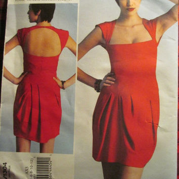 SALE Uncut Vogue Sewing Pattern, 1304! 4-6-8-10-12 Women's/Misses/Small/Medium, Couture High Fashion Dress/open Back/Formal Evening Dress