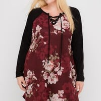 Moody Floral Wine Dress | Plus