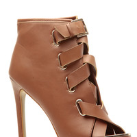 Tan Faux Leather Strapped Open Toe Heels
