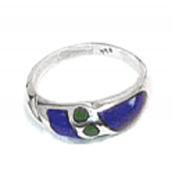 Band and Dot Lapis and Malachite Crown Ring