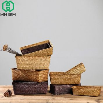 WHISM Handmade Straw Storage Box Seagrass Basket Rattan Fruit Container Makeup Organizer Woven Storage Baskets Wicker Baskets