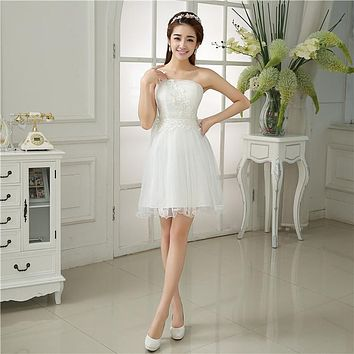 ZX31B#The spring 2017 new one shoulder bridesmaid dresses short white dress