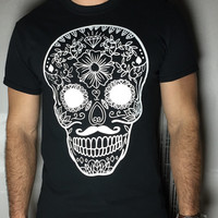 T-Shirt Mexican Skull, most popular Old School Diamond triangle Moustache wasted youth-Unisex tumblr pinterest instagram blogger zoella