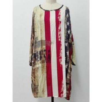 Dolman Sleeves Flag Print T-Shirt Dress