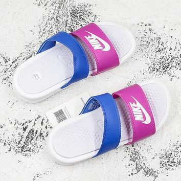 Nike Benassi Duo Ultra White Royal Pink Slide Sandal Slipper - Best Deal Online