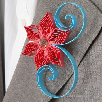 Red Coral Flower Boutonniere, Coral and Aqua Wedding, Beach Weddings, Paper Flower Boutonniere, Handmade Buttonhole