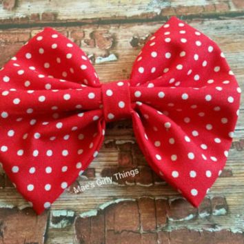 Large red and white polka dots hair bow, Minnie mouse, vintage inspired, pin up, girls hair bow