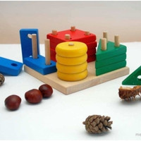 Educational eco-friendly wooden put-through geometric blocks COLORED / Montessori wooden toy