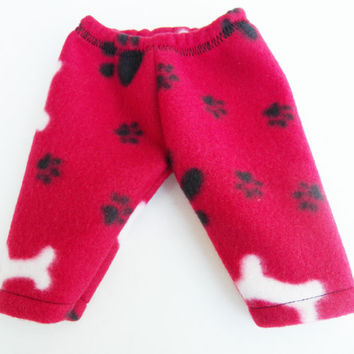 American Girtl Bitty Baby Twins Boy Doll Clothes Red Black Paw Print Dog Bone Fleece Pants Pjs Pajamas Fall Winter Sweatpants