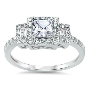 Choose Color Womens Three Stone Engagement Ring Rhodium Plated Sterling Silver CZ Princess Cut Three Stone Engagement Promise Ring