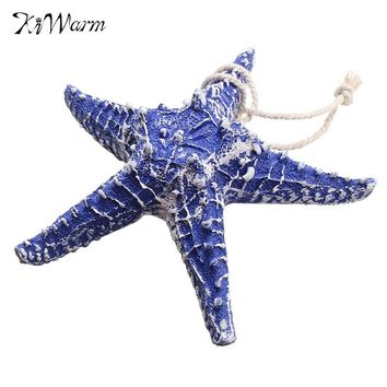Cute Mediterranean Style Blue Sea Star Ocean Beach Ornaments Wedding Terrariums Fish Tank Decoration Resin Crafts Home Decor