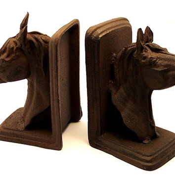 Cast Iron Rust Horse Head Bookends