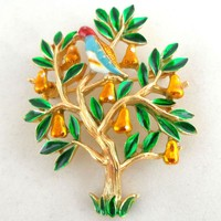 Vintage TRIFARI Partridge in a Pear Tree Enamel Figural Pin