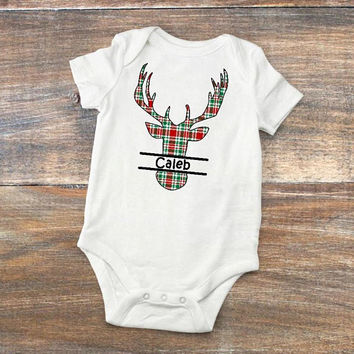 Christmas Baby Bodysuit - Plaid Deer Silhouette Personalized Baby Shower Present - Custom Baby Gift - Rustic Newborn Bodysuit