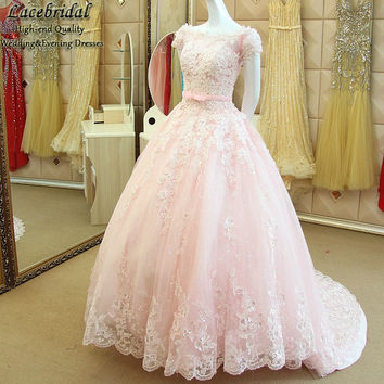 Modest Ball Gown Lace and Beaded Evening Dresses 2017 Formal Women Long Puffy Party Prom Gown Short Sleeves vestidos longo XE167