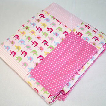 Pink Baby Girl Quilt, Modern Baby Quilt, Pink Baby Girl Cot Bedding, Nursery Decor, Elephant Nursery Bedding, Patchwork Baby Girl Crib Quilt