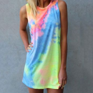 Tie-dye Rainbow Tank Mini Dress