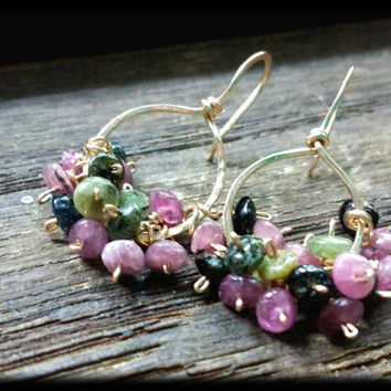 14k Gold Watermelon Tourmaline Cluster Drops: 14k Gold Filled Wire Wrapped Watermelon Tourmaline Smooth Rondelles on Hammered Gold Hoops