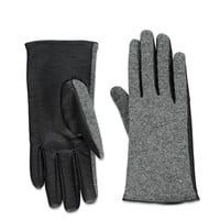 Faux Leather-Paneled Gloves