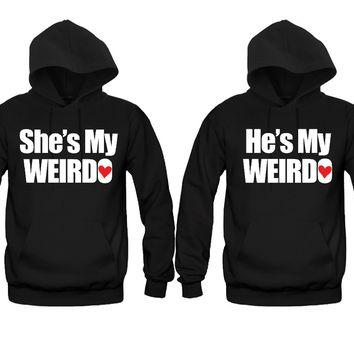 She's My Weirdo - He's My Weirdo Unisex Couple Matching Hoodies