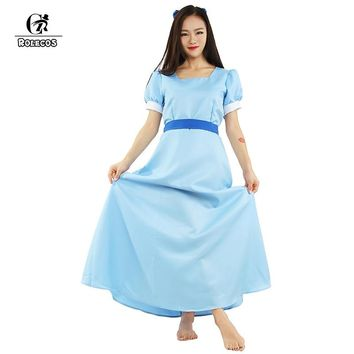 ROLECOS Peter Pan Wendy Blue long cosplay costume beauty lady  Dress half sleeve causal party dress for women