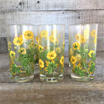 Tumbler Glasses 6 Vintage Drinking Glasses Yellow Flower Water Glasses Mid Century Highball Glasses Flower Glasses Retro Drinkware