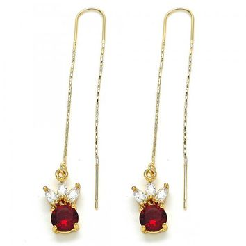 Gold Layered 02.266.0009 Threader Earring, with Garnet and White Cubic Zirconia, Polished Finish, Golden Tone
