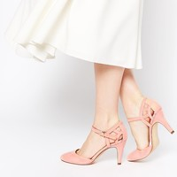 New Look Wide Fit Quail Pink Two Part Heeled Shoes at asos.com