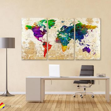 "LARGE 30""x 60"" 3 panels 30x20 Ea Art Canvas Print Watercolor Map World Push Pin Travel M1826"