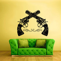 Wall Decal Vinyl Sticker Decals Guns Revolvers Two Poster (z1921)