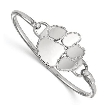 NCAA Sterling Silver Clemson University Lg Tiger Paw Bangle, 7 Inch