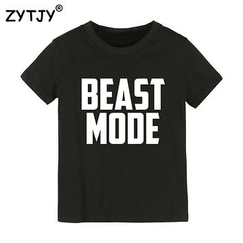 BEAST MODE Letters Print Kids tshirt Boy Girl t shirt For Children Toddler Clothes Funny Top Tees Drop Ship Y-59