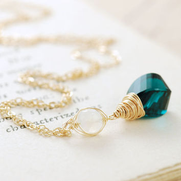 Gold Pendant Necklace, Teal Quartz Moonstone Necklace, Gemstone Layering Necklace, aubepine