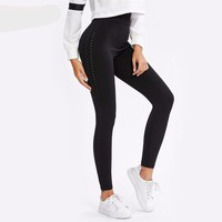 Perforated Black Casual Fitness Leggings Workout Clothes for Women