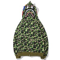 Bape Aape Autumn And Winter New Fashion Shark Camouflage Hooded Keep Warm Long Sleeve Sweater Coat Green