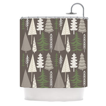 "KESS Original ""Happy Forest Brown"" Green Shower Curtain"