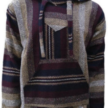 Mexican Threads Baja Hoodie Drug Rug Pullover Sweatshirt / Gypsy Jacket / Hippie Poncho Maroon Brown S-XL