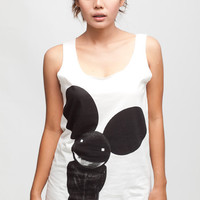 Deadmau5 T Shirt Electronica DJ Hip Hop Women White T-Shirt Vest Tank Top Singlet Sleeveless Size S M