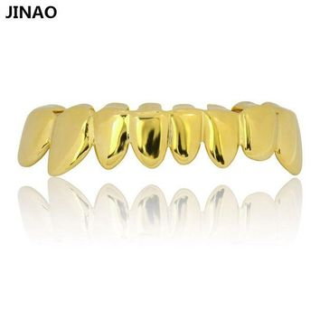 ac spbest JINAO Pure Gold Color Plated Grillz Caps Shaped Bottom Teeth Grills Hip Hop New PERM CUT REAL Grill Teeth GRILLZ Ship From US
