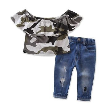 2017 New Fashion Kids Clothes Off shoulder Camo Crop Tops+Hole Jean Denim Pant 2PCS Outfit Summer Suit Children Clothing Set