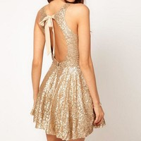 MDIG7ON SEQUINED BACKLESS DRESS