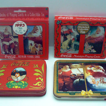 Coca Cola Nostalgia Playing Cards Deck Card Set Lot Collectible Christmas Tin Santa Claus Gibson Girl Holiday Limited Edition Playing Cards