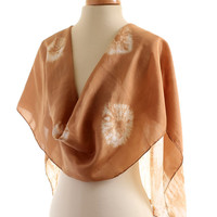Gold Brown naturally dyed Shibori Habotai medium weight long silk scarf, hand dyed with Walnut husks giving a rich gold brown shade