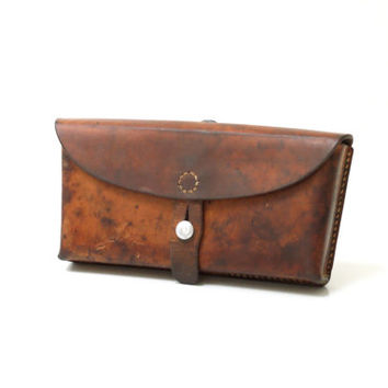 SWISS ARMY Ammunition Ammo Bag from 1965, Military Magazine Case, Oiled or Waxed, Made in Switzerland, Brown Saddle Leather, Hunters Bag