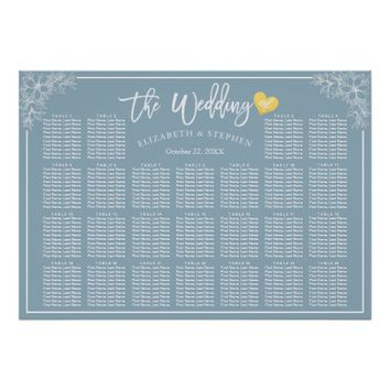 25 Tables Blue White Floral Wedding Seating Chart