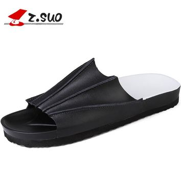 Z.Suo Fashion Men Slippers British Style Summer Sandals Leisure Fashion Beach Shoes,Rubber Sole Quick-Dry Non-slip Slippers