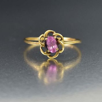 Pink Sapphire 10K Gold Flower Ring