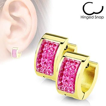 WildKlass Square Crystal Paved IP Gold Over Stainless Steel Hoop Huggie Earrings