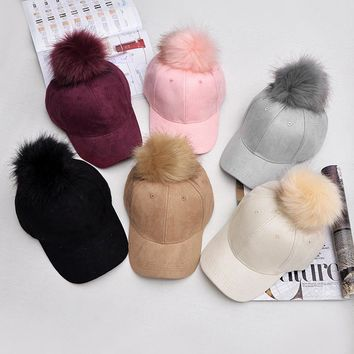 Fashion Women Unisex Faux Buckskin Pom Pom Ball Suede Fabric Adjustable Baseball Hat Autumn Winter Cap 6 Colors